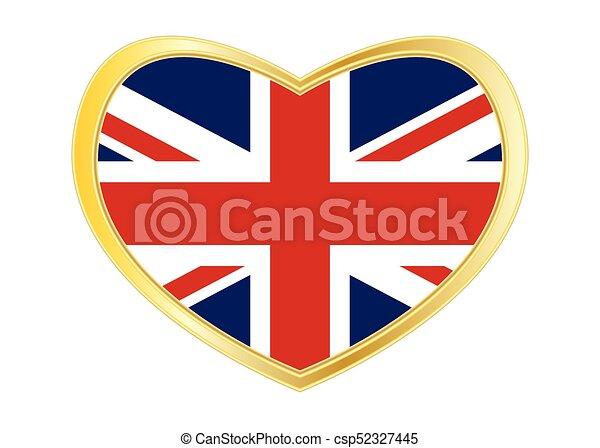 Reino, corazón, unido, dorado, marco, bandera, forma. Corazón ...