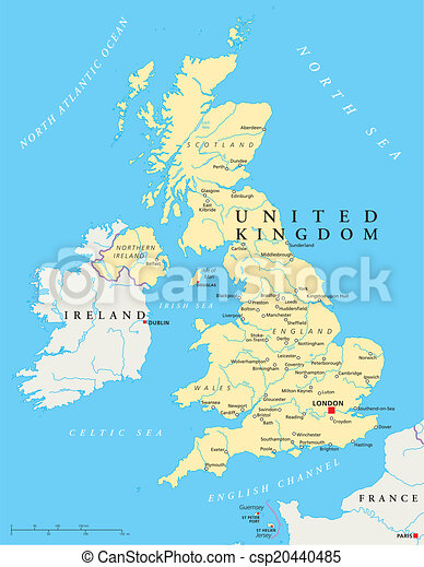 Mapa Politica Del Reino Unido Con Capital Londres Fronteras