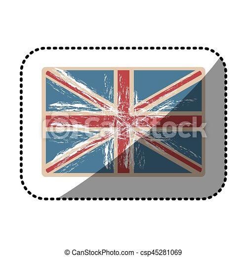 Reino Unido Grunge Opaco Pegatina Textura Bandera Vector