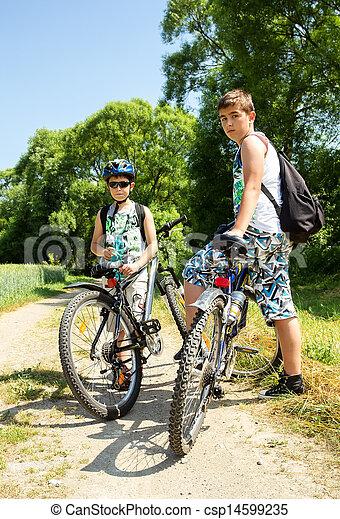 reise, fahrrad, zwei, entspannend, teenager