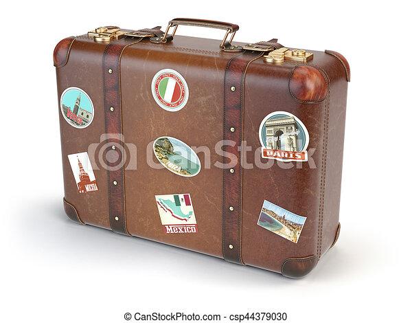 Beste Reise, freigestellt, hintergrund., retro, koffer, weißes QX-19