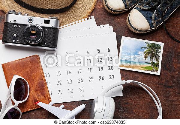 reise, urlaub, kalender, accessoirs - csp63374835