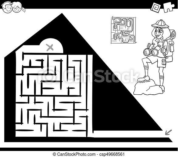 Reisender, spiel, pyramide, labyrinth, aktivität. Pyramide ...