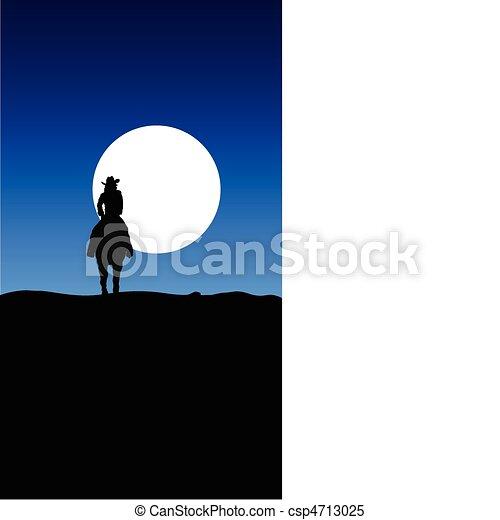 Cowboy reitet auf Mondanschauung - csp4713025