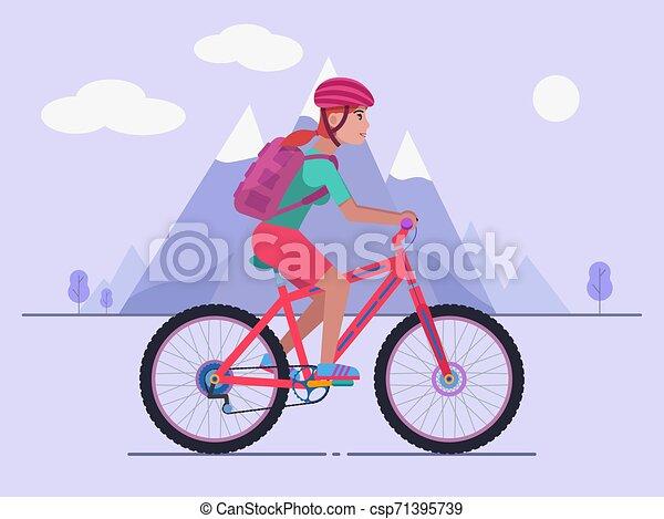 Reiten, frau, fahrrad, berg. Vektor, berg, seine, frau