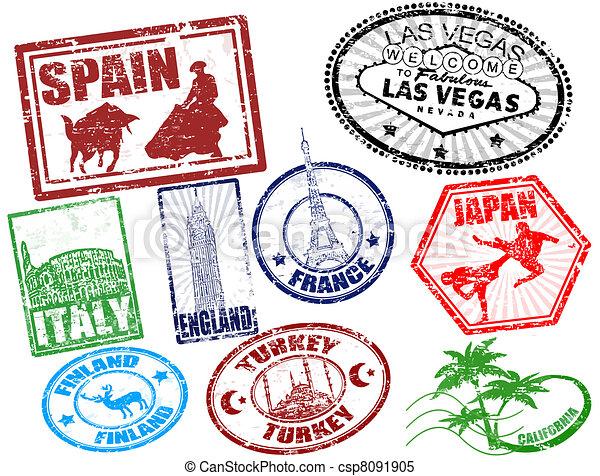 reizen, postzegels - csp8091905