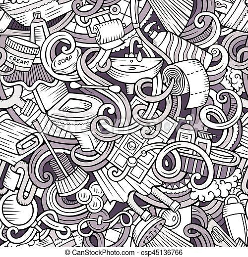 reizend, badezimmer, muster, seamless, doodles, karikatur