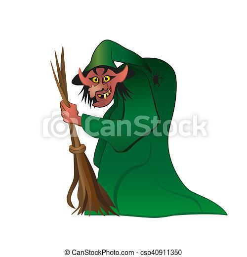 Reizend Besen Hexe Reiten Hexe Besen Fliegendes Halloween