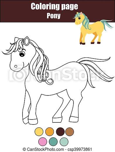 Reizend, erzieherisch, färbung, pony, spiel, zeichnung,... Clipart ...
