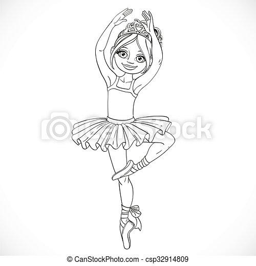 Reizend, färbung, ballerina, umrissen, tanzen, freigestellt ...