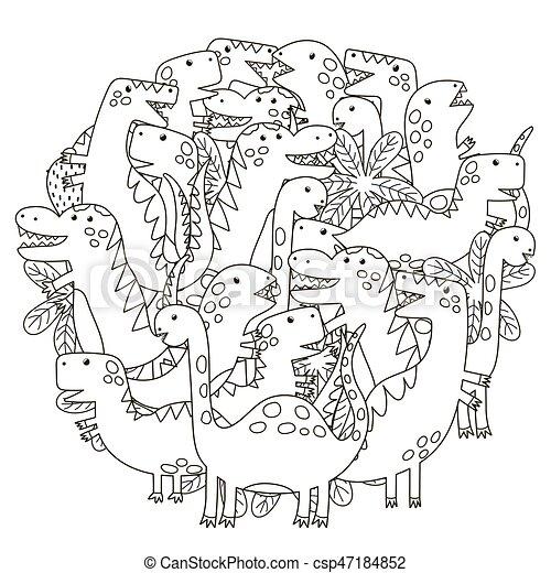 Reizend, färbung, muster, dinosaurier, form, buch, kreis. Reizend ...