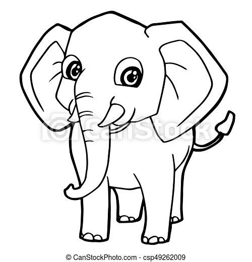 Reizend, färbung, seite, vektor, elefant, karikatur.... Vektor ...