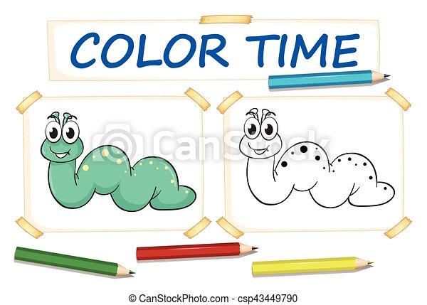 Reizend, färbung, wurm, schablone. Reizend, färbung, wurm,... EPS ...