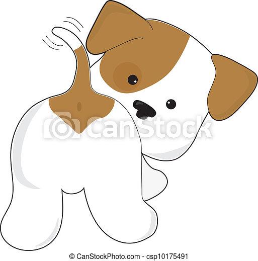 reizend, junger hund, hintere ansicht - csp10175491