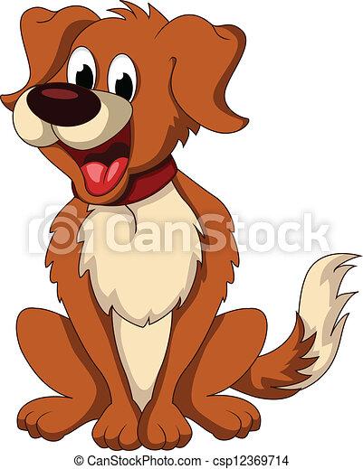Süße Hunde-Cartoon-Sitzung - csp12369714