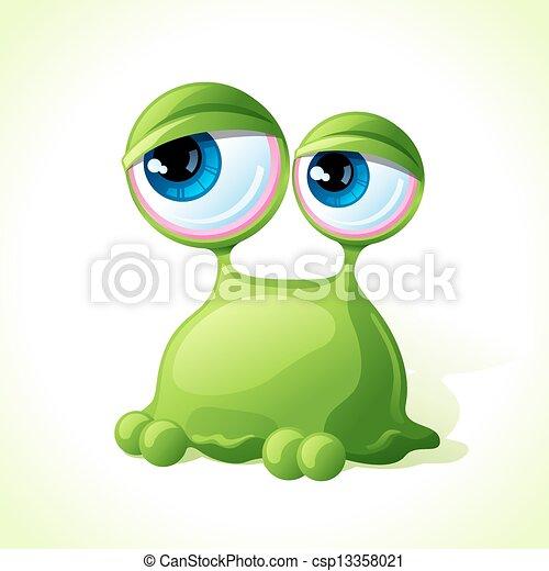 reizend, monster, freigestellt, hintergrund., vektor, grün weiß - csp13358021