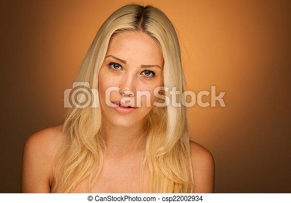 reizend, neauty, frau, blond, porträt - csp22002934