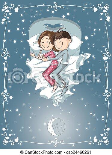 Reizend Paar Kuschelt Karikatur Bett Zusammen Eingeschlafen
