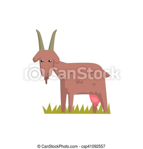 Reizend, Spielzeug, Bauernhof, Aufkleber, Grau, Tier, Ziege   Csp41092557