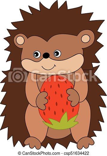 Reizend Vektor Igel Karikatur Erdbeer