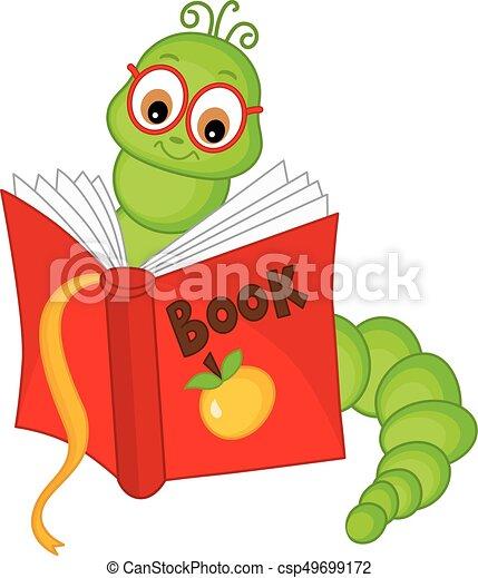 Bücherwurm clipart  Reizend, vektor, karton, bücherwurm, brille. Abbildung, reizend ...