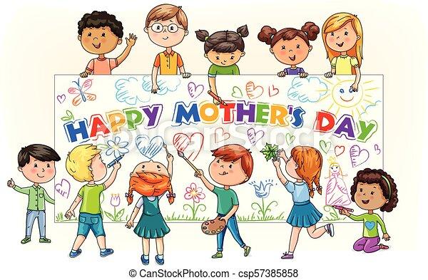 Reizend, verschieden, kinder, mütter, karikatur, farbe ...