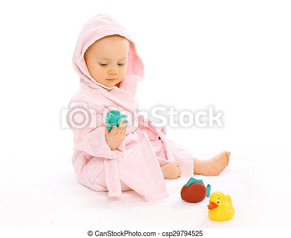 reizend, wasser, bademantel, gummi, spielzeuge, baby, spielende  - csp29794525
