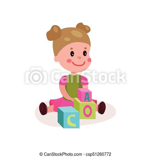 reizend, wenig, bunte, sitzen, boden, spielen, abbildung, karikatur, spielzeuge, vektor, durch, lernen, spaß, m�dchen, spielen block, kind - csp51260772