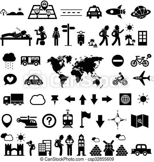 reiziger, ontdekkingsreiziger, pictogram - csp32855609