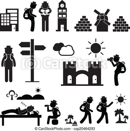 reiziger, schooltas, ontdekkingsreiziger, pictogram - csp20464293