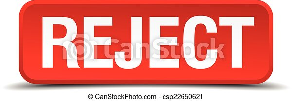 Reject red 3d square button isolated on white - csp22650621
