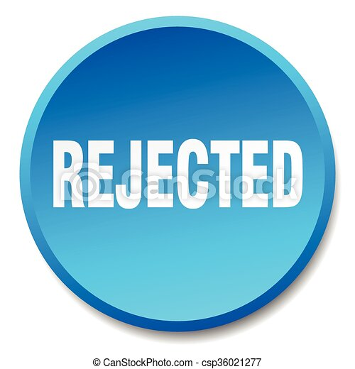 rejected blue round flat isolated push button - csp36021277