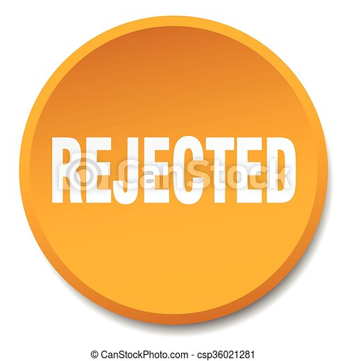 rejected orange round flat isolated push button - csp36021281