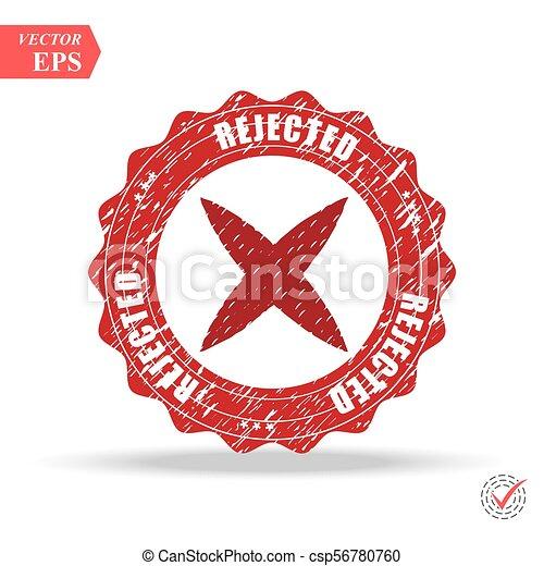 Rejected. stamp. red round grunge vintage rejected sign - csp56780760