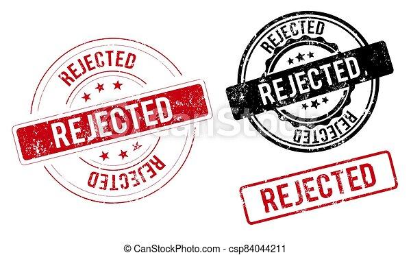 rejected. stamp. red round grunge vintage rejected sign - csp84044211