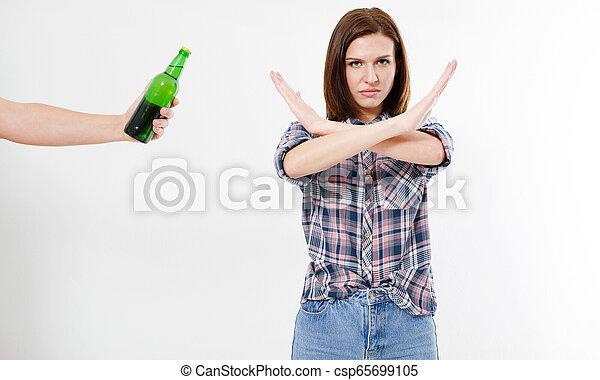 rejeté, fille femme, bras, alcool, femme, concept, traversé, alcoolisme - csp65699105