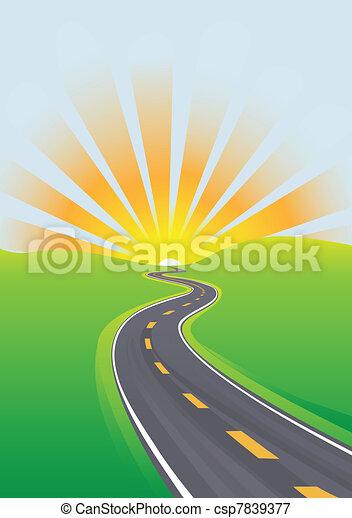 rejse, himmel, formiddag, lys fremtid, hovedkanalen - csp7839377