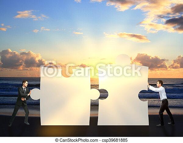 rejtvény, rámenős, businessmen, együtt, darabok - csp39681885