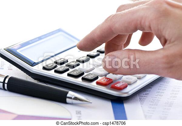 rekenmachine, belasting, pen - csp1478706