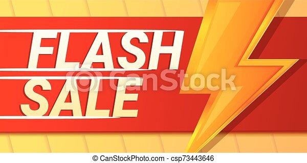 Relámpago Flash Sale Banner concepto, estilo dibujos animados - csp73443646