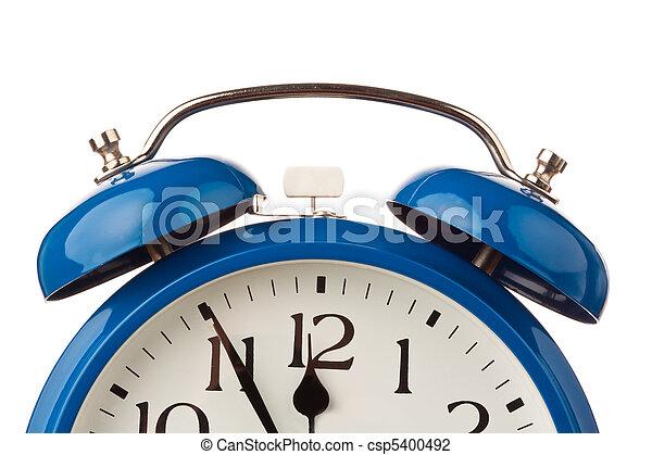 relógio, alarme, cinco, mostra, twelve., antes de - csp5400492