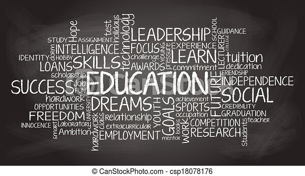 relacionado, educación, etiqueta, nube, ilustración - csp18078176