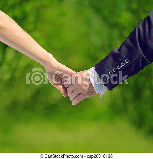 relaciones, concepto, amor, dulce, -, pareja, boda, br, manos - csp26318138