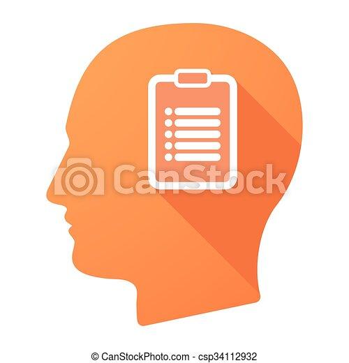 relatório, cabeça, macho, ícone - csp34112932