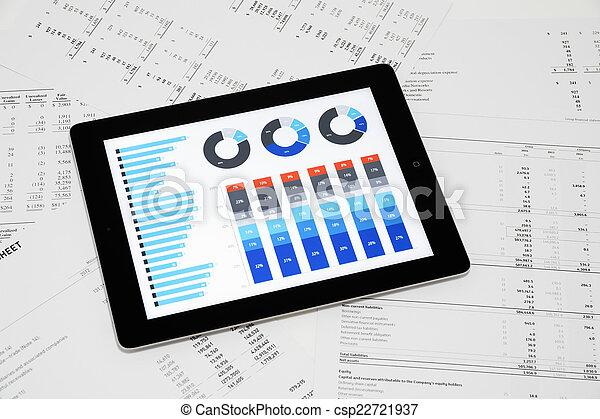 relatório, negócio, tabuleta, digital - csp22721937
