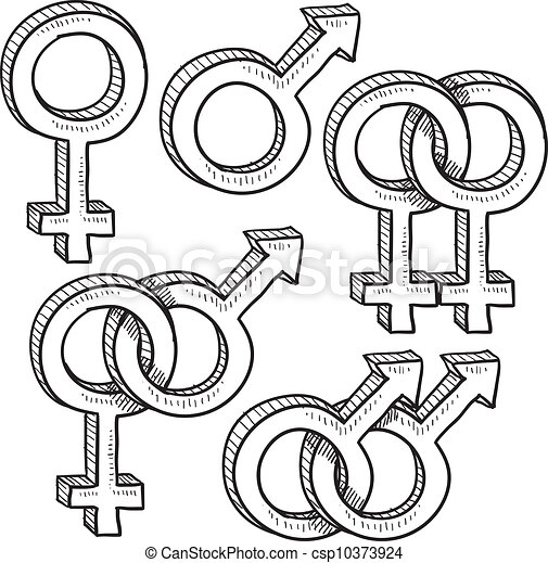 Relationship gender symbols sketch - csp10373924