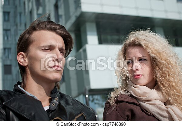 Relationship problems - couple outdoor - csp7748390
