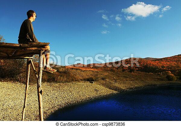 Relax on lake - csp9873836