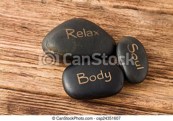 Relax, soul, body three lava stones - csp24351607
