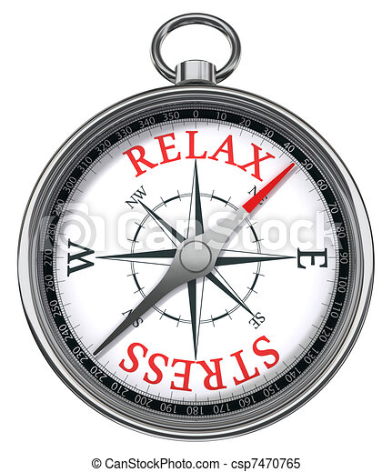 relax stress red words on compass  - csp7470765
